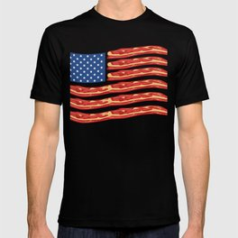 """When Bacon Is Love, Bacon Is Life """"American Flag Bacon"""" T-shirt Design Food Breakfast Lunch Snack T-shirt"""