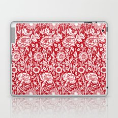 "William Morris Floral Pattern | ""Pink and Rose"" in Red and White Laptop & iPad Skin"