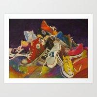 sneakers Art Prints featuring Sneakers by Jocelyn Mendoza