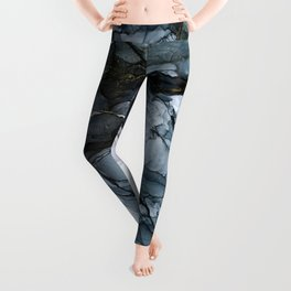 Dark Payne's Grey Flowing Abstract Painting Leggings
