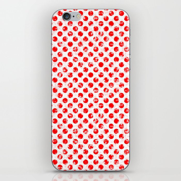 Polka Dot Red and Pink Blotchy Pattern iPhone Skin