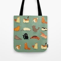 fat Tote Bags featuring Fat Cats by Kecky