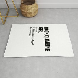 Rock Climbing Girl Funny Quote Rug