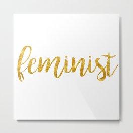 Golden Feminist Metal Print