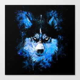 husky dog face splatter watercolor blue Canvas Print