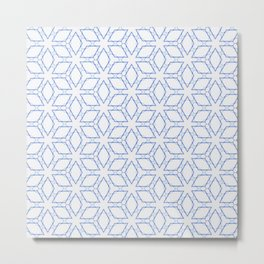 White and Blue Minimualist Pattern Metal Print