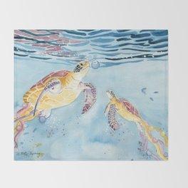 Take A Breath Sea Turtle Throw Blanket