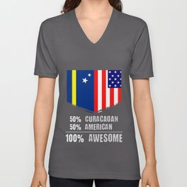 50% Curacaoan 50% American 100% Awesome Immigrant Unisex V-Neck