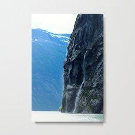 Misty Waterfall Metal Print