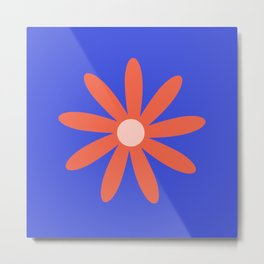 Flower Time 3 Minimalist Floral in Coral and Bright Blue Metal Print
