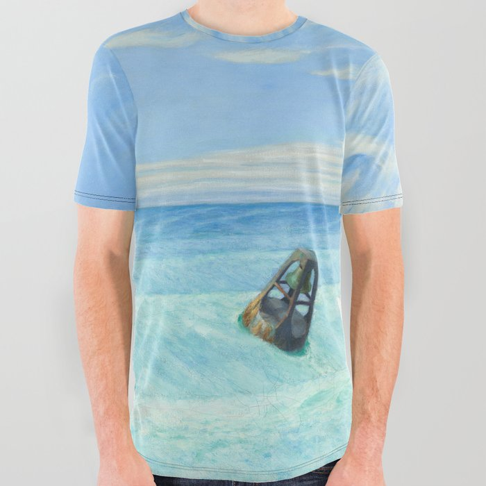 decf0790e575 Ground Swell OIl Painting by Edward Hopper All Over Graphic Tee by ...