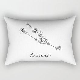 Taurus Floral Zodiac Constellation Rectangular Pillow