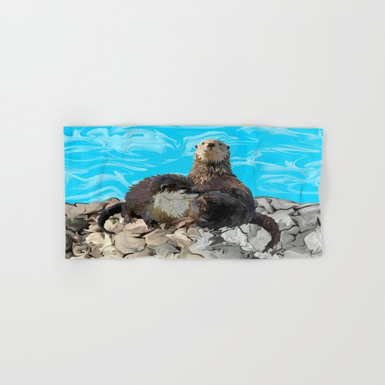 Where the River Meets the Sea Otters Hand & Bath Towel