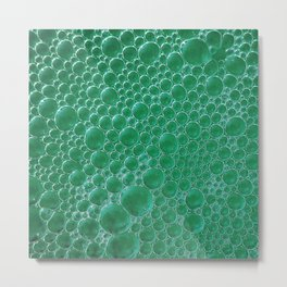 Champagne Bubbles Collection: #2 - Emerald Green Metal Print