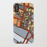 boston map iPhone & iPod Cases featuring Abstract Map- Boston Chinatown by Carland Cartography