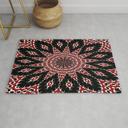 Black Red and White Bold Floral Kaleidoscope Rug