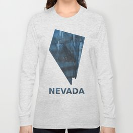 Nevada map outline Dark Gray Blue clouded watercolor pattern Long Sleeve T-shirt