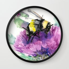 Bumblebee and Thistle Flower, honey bee floral Wall Clock