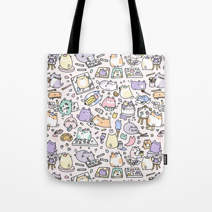77f7eb34d6a2 Artsy Cats Tote Bag by kirakiradoodles