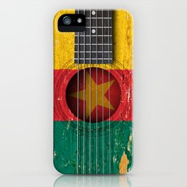 Old Vintage Acoustic Guitar with Cameroon Flag iPhone Case