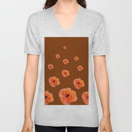 ORANGE POPPY FLOWERS ON COFFEE BROWN Unisex V-Neck