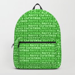 Merry Christmas Greeting in Green Backpack