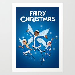 Fairy Christmas (Blue) Art Print