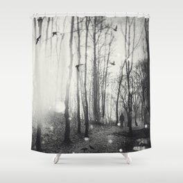White Lights in the Forest Shower Curtain