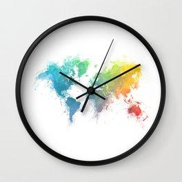 World Map splash 1 Wall Clock