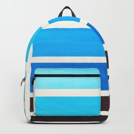 Cerulean Blue Minimalist Mid Century Modern Color Fields Ombre Watercolor Staggered Squares Backpack