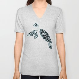 Calligram Sea Turtle Unisex V-Neck
