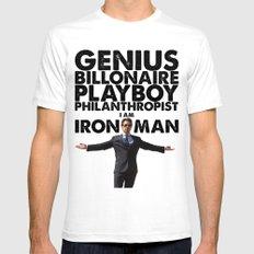 Iron Man - Genius, Billionaire, Playboy, Philanthropist. Mens Fitted Tee White SMALL