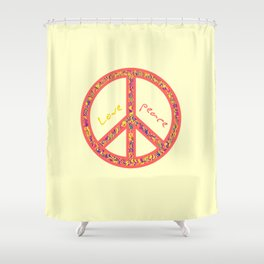 Peace and love, colourful and groovy hippie sign, 60's symbol of freedom Shower Curtain