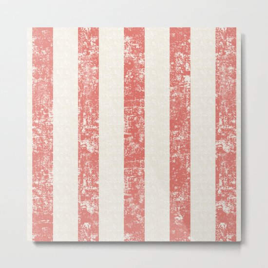 Maritime Beach Pattern- Red and White Stripes- Vertical - Metal Print