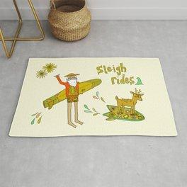 sleigh rides // surfing santa // retro surf art by surfy birdy Rug