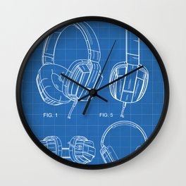Headphones Patent - Head Phones Art - Blueprint Wall Clock