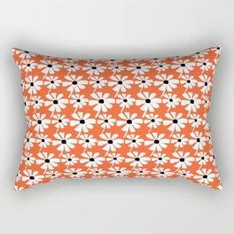 Daisies In The Summer Breeze - Orange White Black Rectangular Pillow