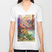 zen V-neck T-shirts featuring Zen by Kat Miles