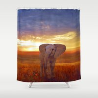 baby elephant Shower Curtains featuring  Elephant baby by valzart