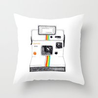 polaroid Throw Pillows featuring Polaroid by Mariam Tronchoni