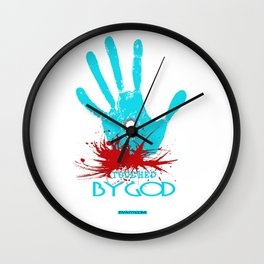 Touched by God (t shirt design) Wall Clock