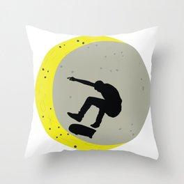 Skateboard Kick Flip OnThe Moon Silhouet Skateboarder Throw Pillow