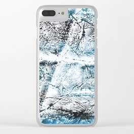 Gray Blue Marble wash drawing Clear iPhone Case
