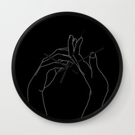 Hands line drawing illustration - Abi black Wall Clock
