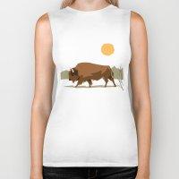 bison Biker Tanks featuring Bison by Emre Özbay