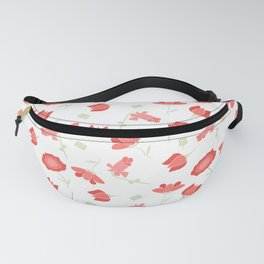 Red and Green Floral Pattern Fanny Pack