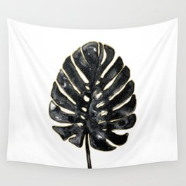 Black and gold Monstera Wall Tapestry