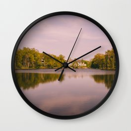 Pink Sky on Evergreen Lake Wall Clock