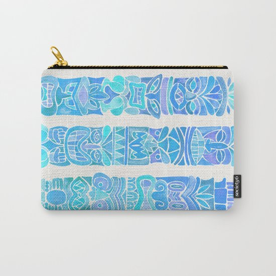 Tiki Totems – Turquoise Palette Carry-All Pouch