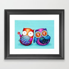 Night and Day Owls Framed Art Print